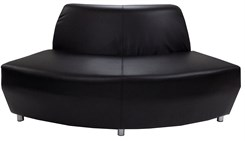 Black Leather 60 Degree Convex Sofa