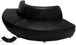 Black Leather 120 Degree Curved Convex Sofa