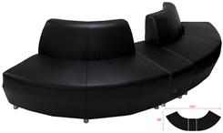 Black Leather 120 Degree Curved Convex Sofa w/Powered USB Ottoman