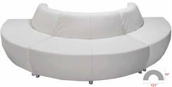 White Leather 180 Degree Curved Convex Sofa