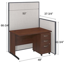"48""W Cubicle w/ Desk w/ Mobile File"