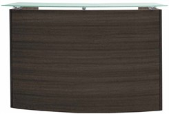 "Curved Charcoal Glass Top Reception Desk - 60"" Wide"
