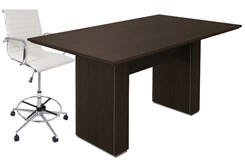 "Custom Standing Height Rectangular Conference Table w/ Cable Channel Bases - 72"" x 42"" - Other Sizes Available"