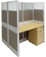 "48""W x 50""D x 67""H Premium Double Starter Cubicle w/Files"