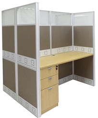 "60""W x 50""D x 67""H Premium Double Starter Cubicle w/Files"