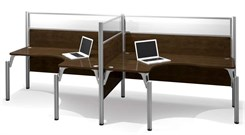 Open Side Double Side-by-Side L-Shaped Workstation w/Acrylic Glass