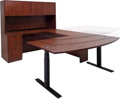 Cherry Electric Lift Adjustable Height U-Desk w/Hutch