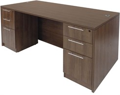 Modern Walnut Rectangular Executive Desk w/6 Drawers