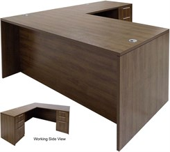 Modern Walnut L-Shaped Rectangular Executive Desk w/6 Drawers
