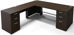 "Prestige II 84""W Custom Glass Front Executive L-Desk, Left Return"