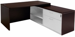 Mocha Executive L-Desk w/Slide Out Return