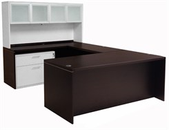 Mocha Executive U-Desk w/Glass Door Hutch
