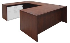 Cherry Executive U-Desk