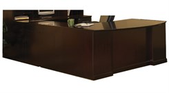 "72""W Executive ""U"" Bow Front Desk with Right Bridge - PBF/PBF"