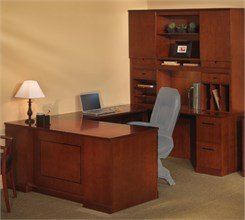 "Executive ""U"" Straight Front Desk w/ Hutch - Right Bridge - PBF/PBF"