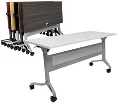 "Flip & Stow Mobile Training Tables w/Privacy Panel - 60""x24"" Table - See Other Sizes & Colors"