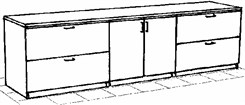 Four Drawer Lateral/Hinged Door Credenza