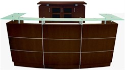 Glass Top Walnut Veneer Welcome Desk w/Mobile Files
