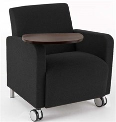 Ravenna Guest Chair w/ Casters & Swivel Tablet in Upgrade Fabric or Healthcare Vinyl