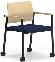Avon Plywood Back / Fabric Seat Stackable Guest Chair on Casters - Standard Fabric or Vinyl