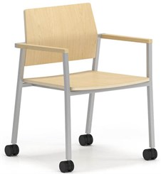 Avon Plywood Stackable Guest Chair on Casters