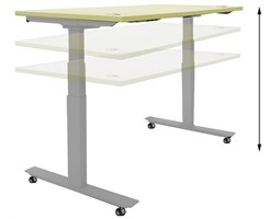 "60""W x 28""D Mobile Electric Lift Height Adjustable Table"