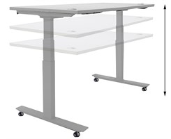 "60""W x 24""D Mobile Electric Lift Height Adjustable Table"