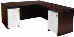 Mocha Manager's L-Desk w/Desk Height Return