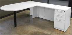 White Peninsula L-Shaped Desk