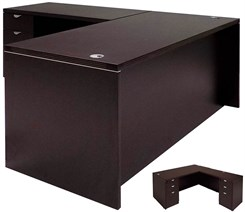 Mocha L-Shaped Executive Desk w/6 Drawers