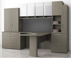 Elite Custom L-Shaped Peninsula Workstation w/Left Return