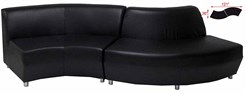 Black Leather Wave Sofa