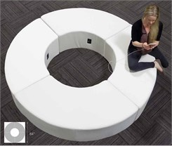 White Leather Circular Powered USB Lounge Bench
