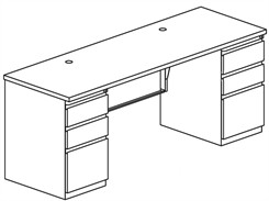 Matching Credenza with Two Box/Box/File Pedestals
