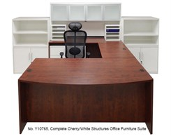 Complete Cherry/White Structures Office Furniture Suite