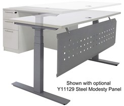 "Electric Lift Height Adjustable L-Shaped Desk with Height Adjustable 60""W Main Desk"
