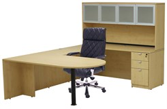 Maple Peninsula U-Shaped Workstation with Hutch
