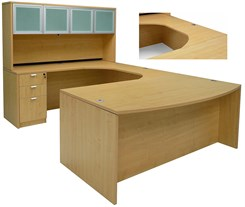 Maple Conference U-Shaped Workstation w/Hutch & Curved Bridge