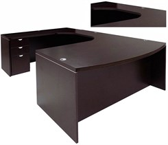 Mocha Conference U-Shaped Workstation w/Curved Bridge