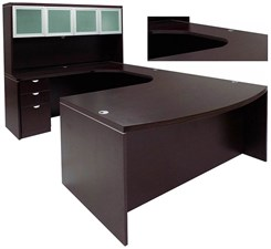 Mocha Conference U-Shaped Workstation w/Hutch & Curved Bridge