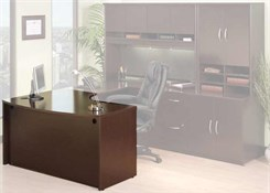 Mocha Cherry Modular Office - L-Bow Desk