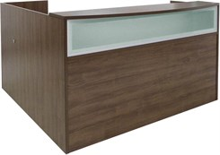 Rectangular Modern Walnut L-Shaped Reception Desk w/Frosted Glass Panel