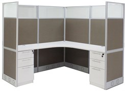 "72"" x 72"" x 67""H Value Series L-Shaped Office Cubicle w/Files - Starter Unit"