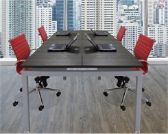 "4-Person Collaborative Open Office Benching Workstation w/48"" x 24"" Worksurfaces"