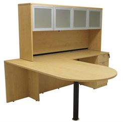 Maple Peninsula L-Shaped Desk w/Hutch