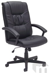 Pillow-Tufted Black Leather Managerial/Conference Office Chair