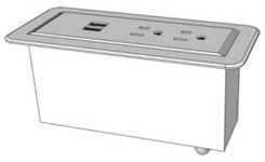 White Flush Mount Power Module w/USB for Custom Desks & Tables