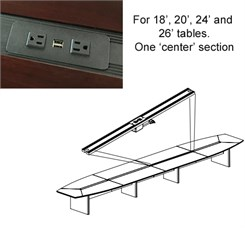 Power Module with Center Section Cable Trough Cover for Y5871, Y5872, Y5873 and Y5874 tables