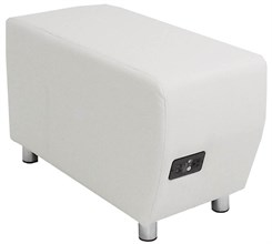 White Leather Powered & USB Charging Ottoman