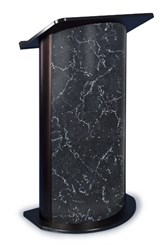 Pyrenees Marble with Black Anodized Aluminum Curved Lectern
